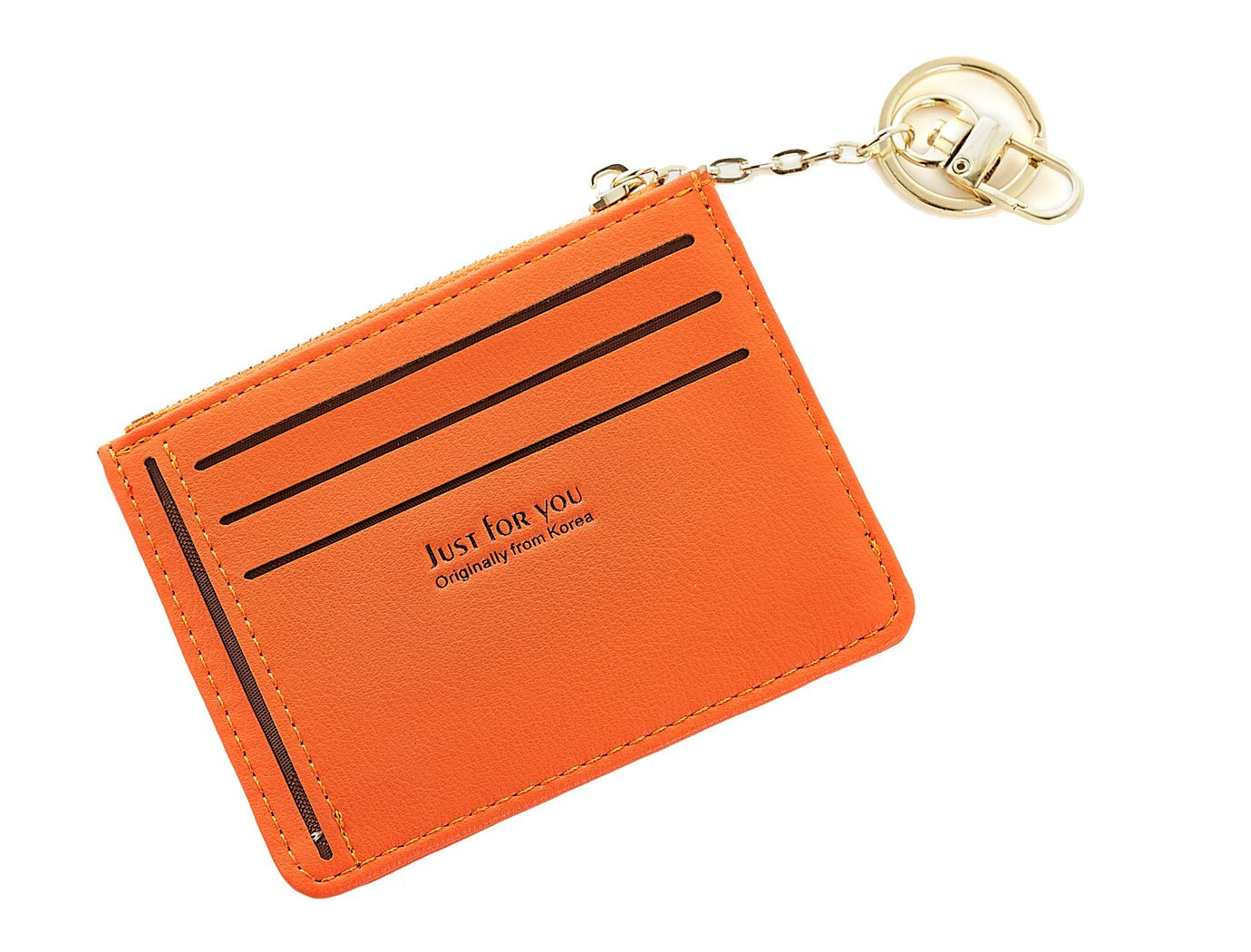 Slim Leather Wallet Credit Card Case Sleeve Bags Holder Mini Purse With ID Window For Cards Coin Keychain Teengirls Orange