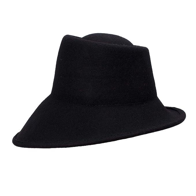 25bf9a6cb6a Lawliet Womens 100% Wool Felt Tilt Asymmetrical Brim Wedding Church Fedora  Hat T289 (Black