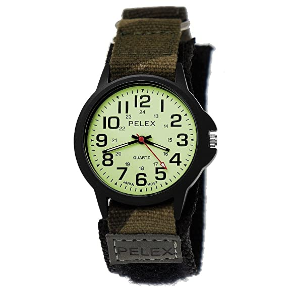 e93863c338f7 NY LONDON Mujer Hombre Nylon Reloj de pulsera Textil Night Glow camuflaje  velcro reloj de pulsera con esfera brillante en negro Incluye caja para  relojes ...