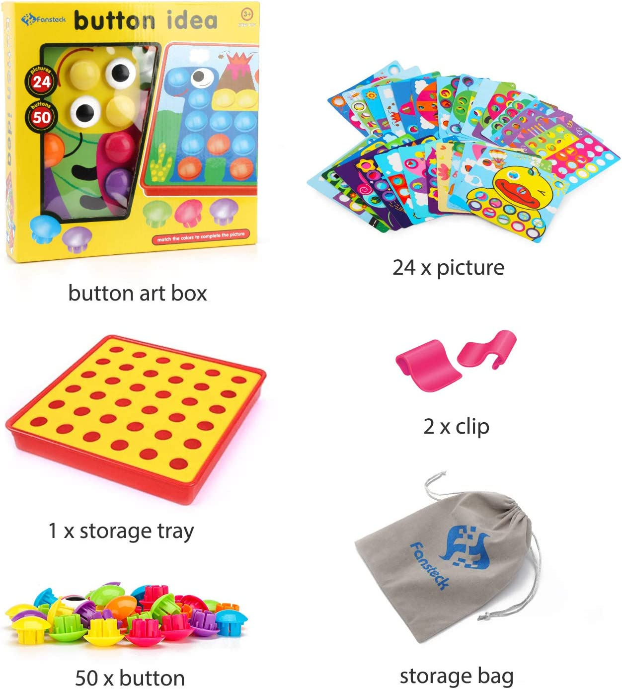 Include 24 Pictures and 50 Buttons with a Storage Bag Ideal Birthday for Age of 3 4 5 6 Fansteck Button Art Educational Toys for Toddlers Color Matching Toddler Arts and Crafts