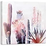Kas Home Canvas Cactus Wall Art, [Hand Painted + Giclee Artwork] Framed Plant Floral Oil Painting Modern Pink Watercolor Canv