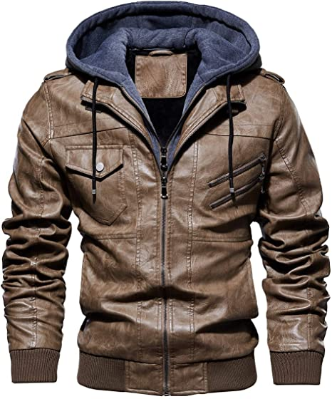 Nmbmn Jacket Blousons Leather Cuir Men À Hooded Capuche Amovible Hommes Veste Biker Pu Moto wOZ8nPXN0k