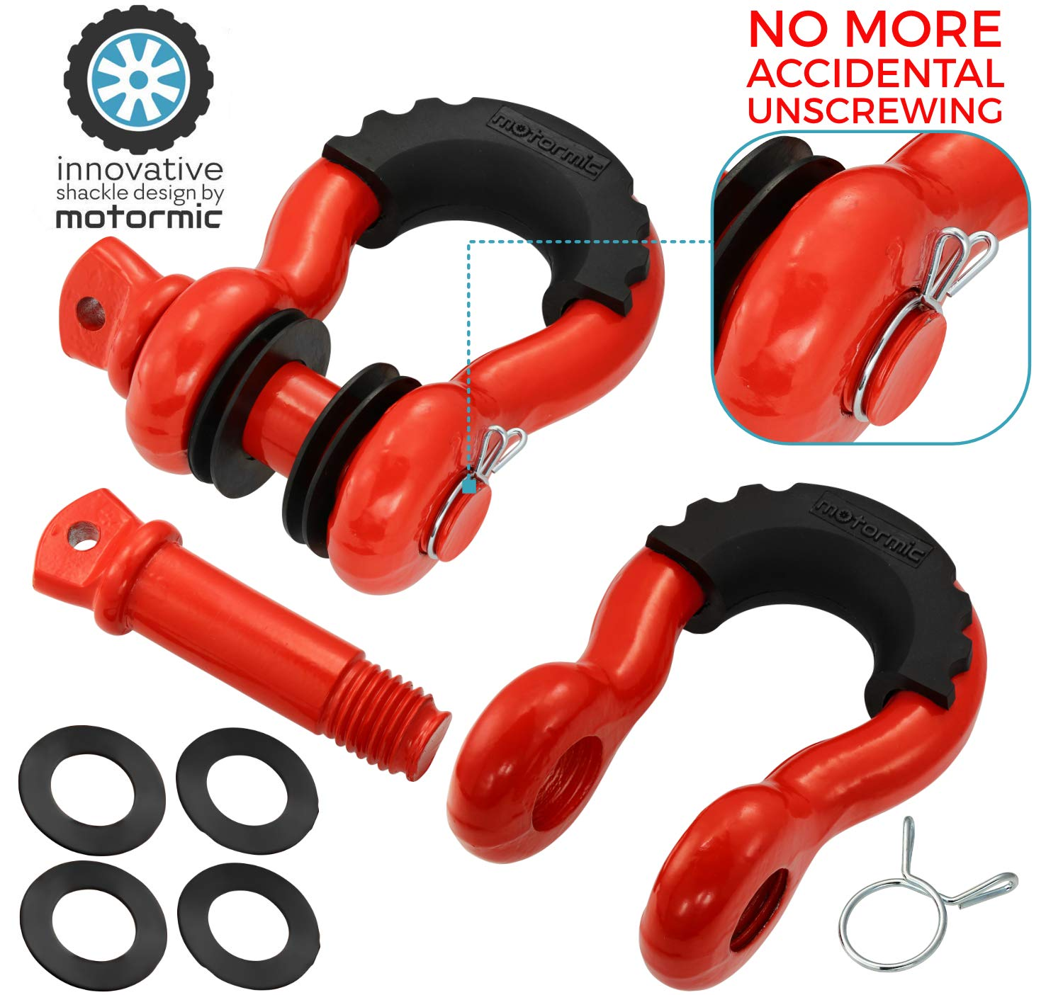 motormic RED Special D Ring Shackles 2pc - 3/4'' Clevis Shackle with 7/8'' Pin - Max 57,000 lbs Break Point - 2 Black Isolators and 8 Black Washers - Heavy Duty DRing for Tow Strap and Jeep Towing