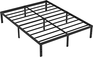 Heavy Duty Non-Slip California King Size Bed Frame with Steel Slat Support, 16 Inch Height Durable and Strong Platform Metal Bed Frames Mattress Foundation for 3500 lbs, No Noise, No Box Spring Needed