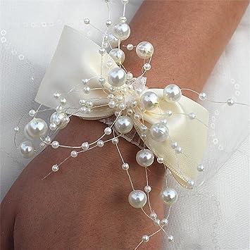 Fouriding Elfenbein Blumenarmband Hand Rose Blumen Armband
