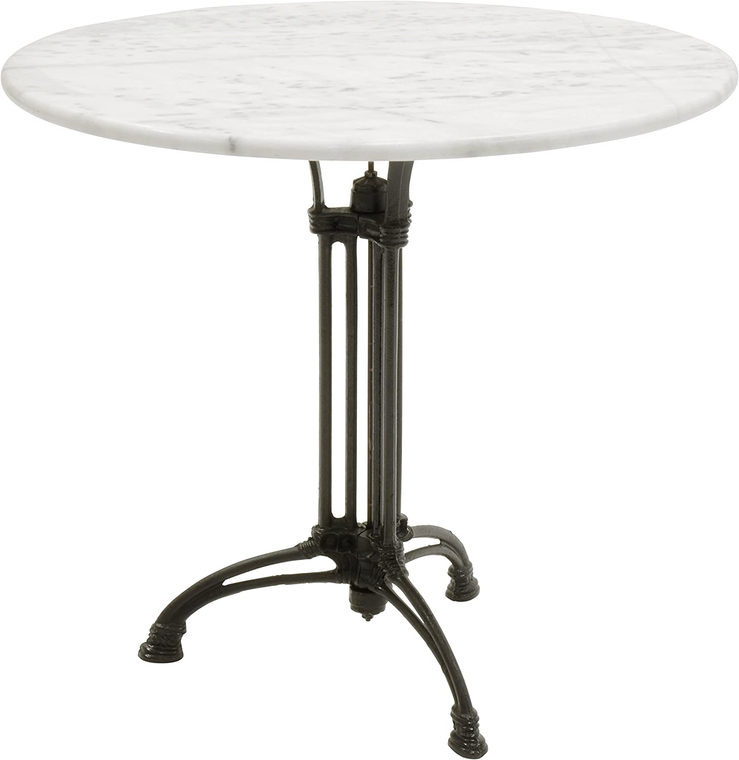 Table En Marbre Blanc Pieds En Fer Forge 80 Cm De Diametre