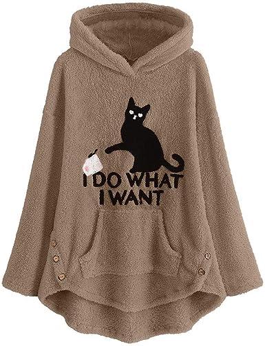 Xinantime Blusa para Mujer con Bordado de Gato de Felpa Talla Grande Sudadera con Capucha cálida botón Superior suéter Blusa: Amazon.es: Ropa y accesorios