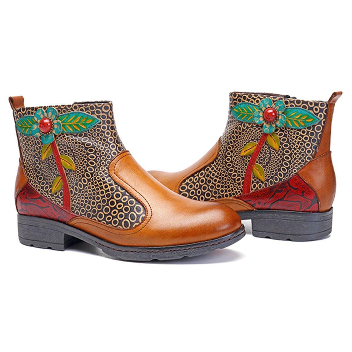 pretty nice 16128 45b43 ... Socofy Socofy Socofy Leather Ankle Bootie, Women s Vintage Handmade  Flat Retro Buckle Pattern B077S3396Z Chelsea ...