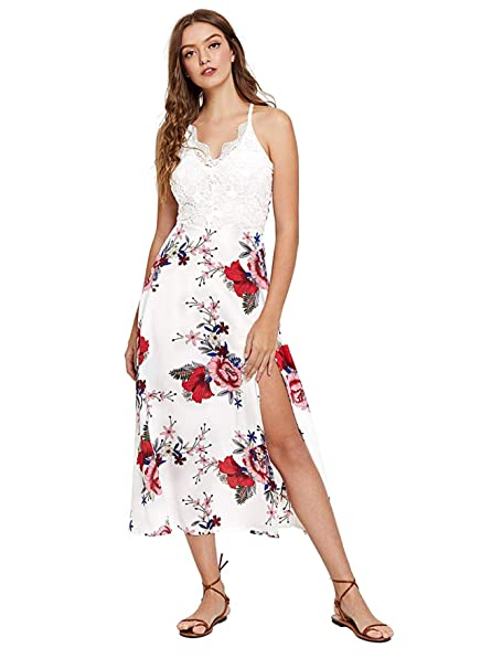 52aa126e9d SheIn Women's V Neck Bow Knot Lace Patchwork Floral Split Maxi Dress:  Amazon.ca: Clothing & Accessories