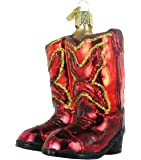 Old World Christmas Red Cowboy Boots Glass Blown Ornament