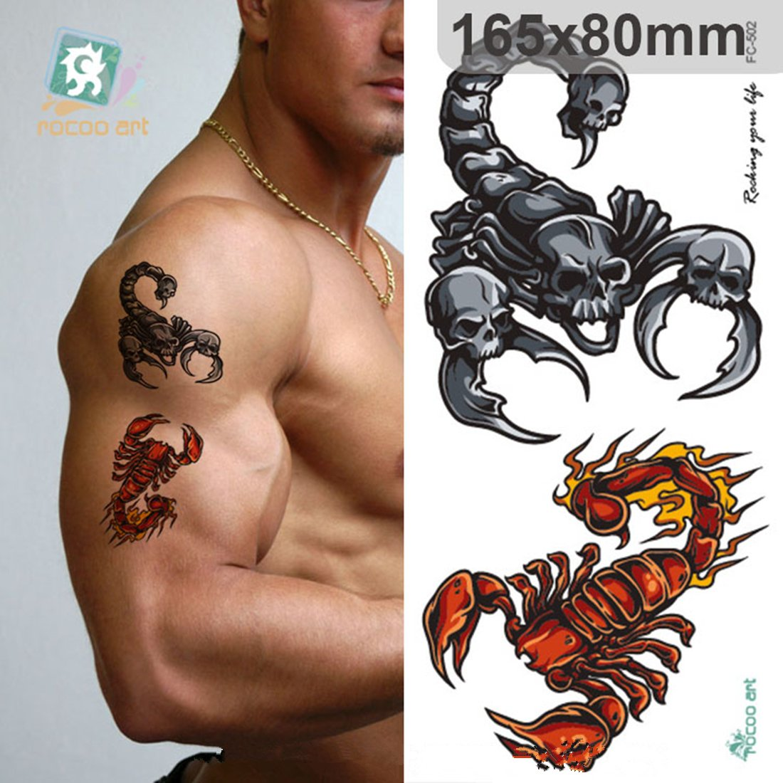 66b805567 Amazon.com: ZUZAN New Home Innovations, Fashion 3D Designs Personality  Trend Multiple Style Big Temporary Tattoos: Beauty