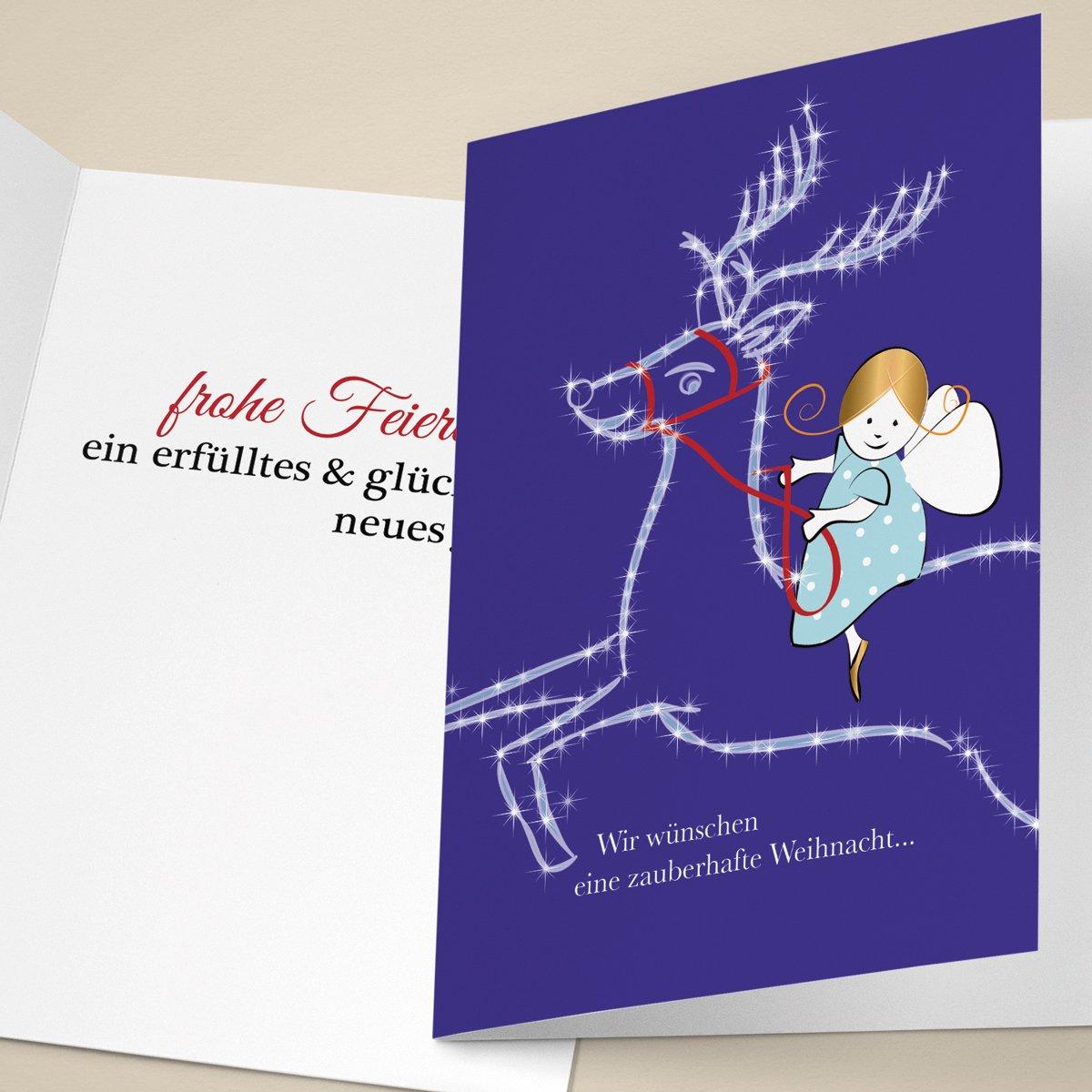 20er Set Niedliche Unternehmen Weihnachtskarten mit Engel auf Rentier, mit mit mit ihrem Innentext (Var6) drucken lassen, als geschäftliche Weihnachtsgrüße   Neujahrskarte   Firmen Weihnachtskarte für Kunden, Geschäftspartner, Mitarbeite f91851