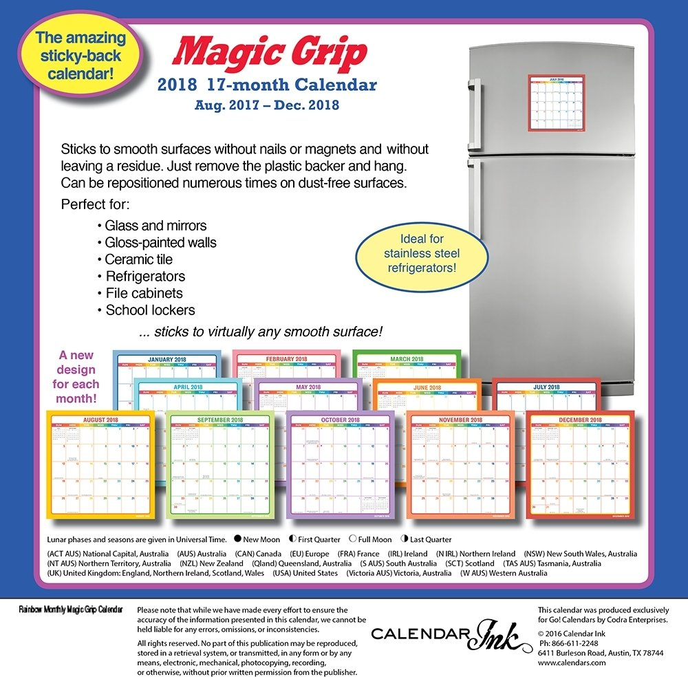 amazoncom 2019 rainbow magic grip wall calendar office organizer by calendar ink office products