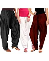 Bottomline Women's Cotton Patiala Salwar Combo (_Black, Maroon and White_Free Size)