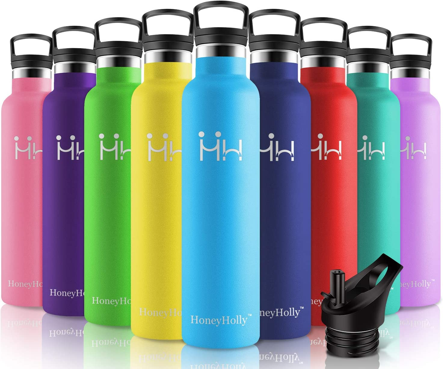 HoneyHolly Stainless Steel Vacuum Insulated Water Bottle,Reusable Bpa Free Metal Sport Bottles with Straw & Filter,1000ML eakproof Hot & Cold Drinks BottleTravel Thermoflask for Kids