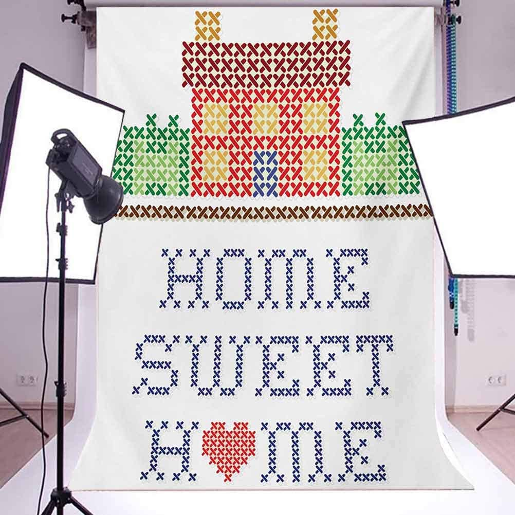 Home Sweet Home 10x12 FT Backdrop Photographers,Colorful Graphic Style Cross Stitch Embroidery Design Needlework Theme Background for Child Baby Shower Photo Vinyl Studio Prop Photobooth Photoshoot