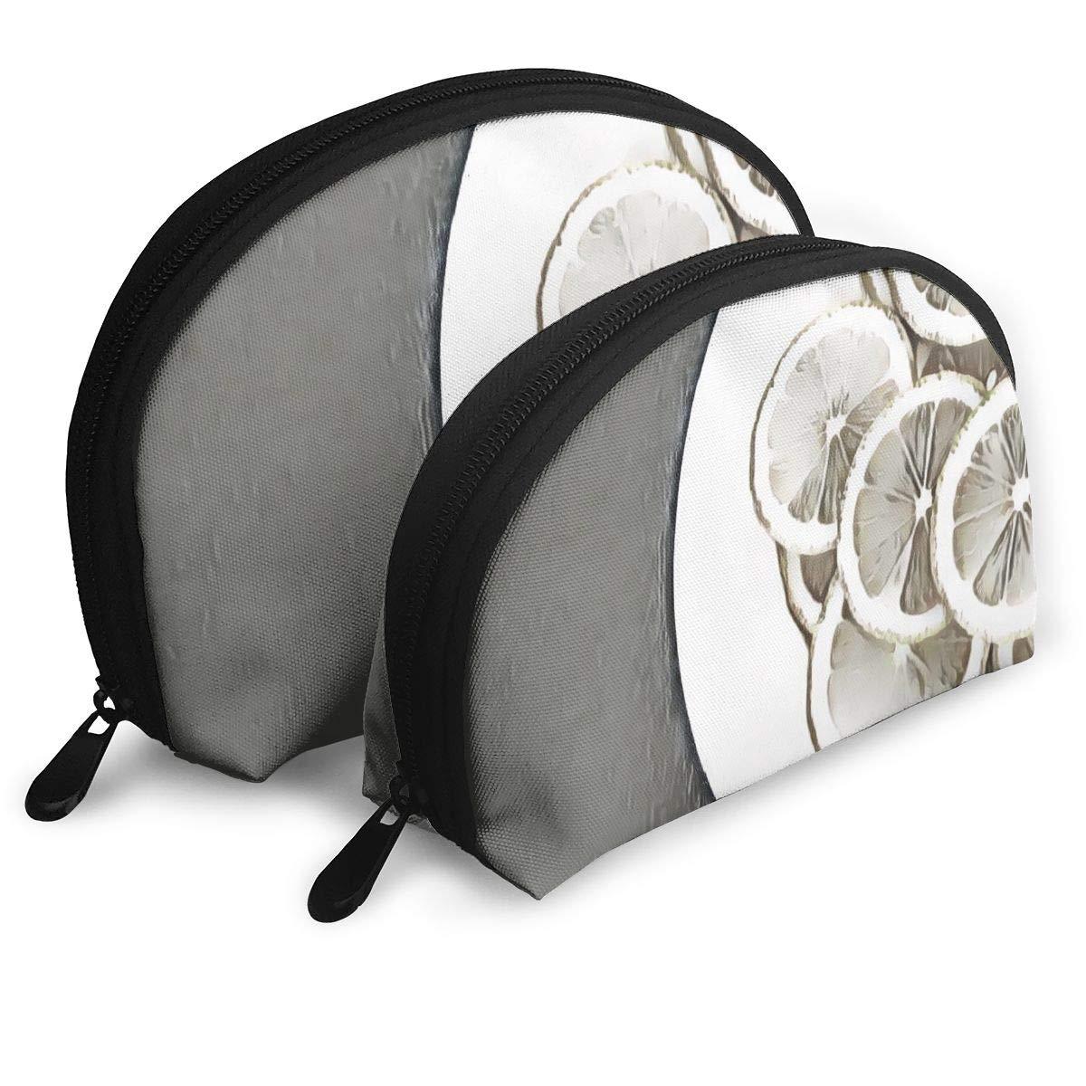 HJDKFIW Personalized Slices of Lemon On White Plate Womens Shell Shape Clutch Bag Organizer Bag Gift 2Pcs