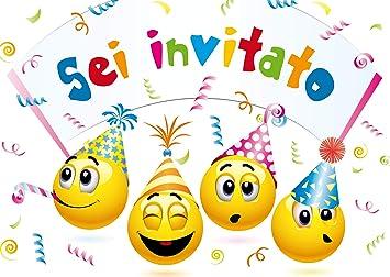 Estremamente Edition Colibri 10 inviti per Festa di Compleanno; Motivo: Smiley YN54