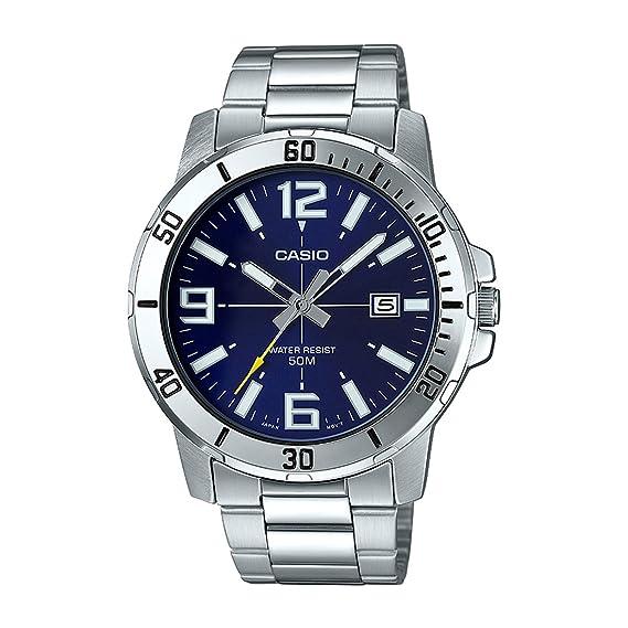 Casio MTP-VD01D-2BV - Reloj deportivo analógico casual para hombre, acero inoxidable, esfera azul: Amazon.es: Relojes