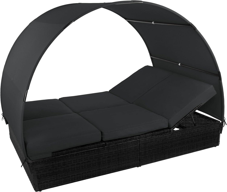 BB Sport Sonnenliege Polyrattan Doppelbett 200 x 140 cm Sonnendach R/ücken//Fu/ßelemente 5-Fach h/öhenverstellbar Gartenliege Doppelliege