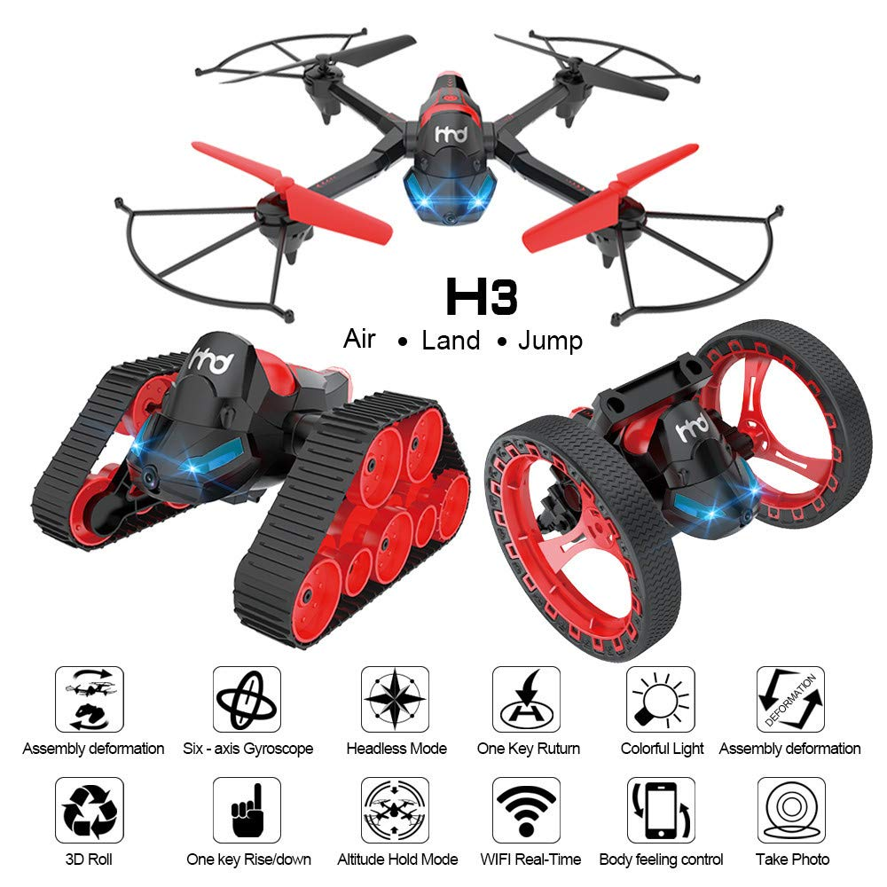 FPV Drone with Camera WiFi, RC Quadcopter 2.4G 6 Axis-Remote Control with Altitude Hold, Headless, Route Setting, One-Key Take-Off/Landing land-air-jump 3Mode Assemble Deformation (2.4G, Black)