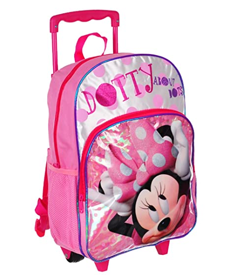 ce7781f802 Image Unavailable. Image not available for. Color  Disney 16 quot  Minnie  Mouse Polka Dot Rolling Backpack ...