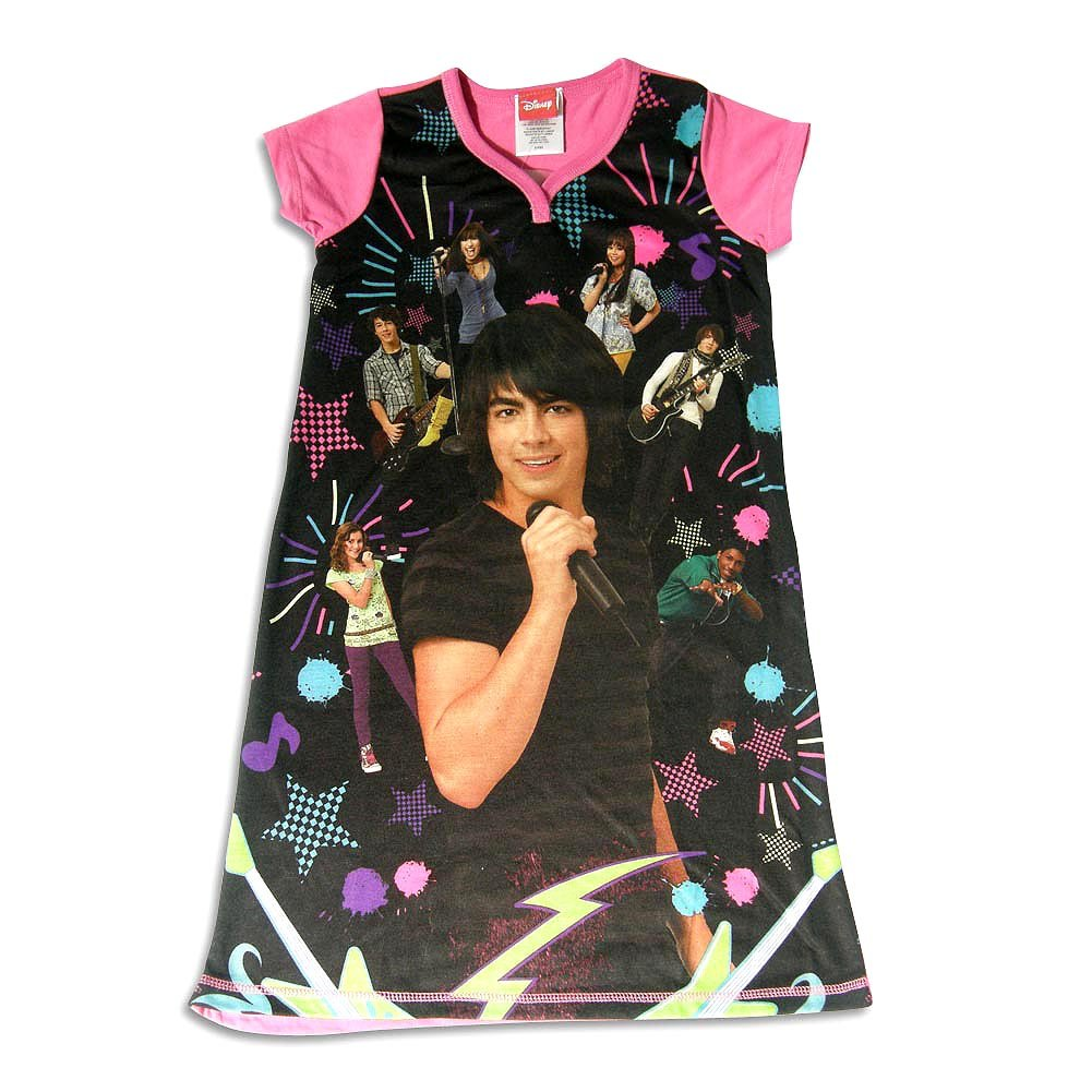 Size 6//6X Girls Short Sleeve Nightshirt Fuchsia Black Camp Rock by Disney