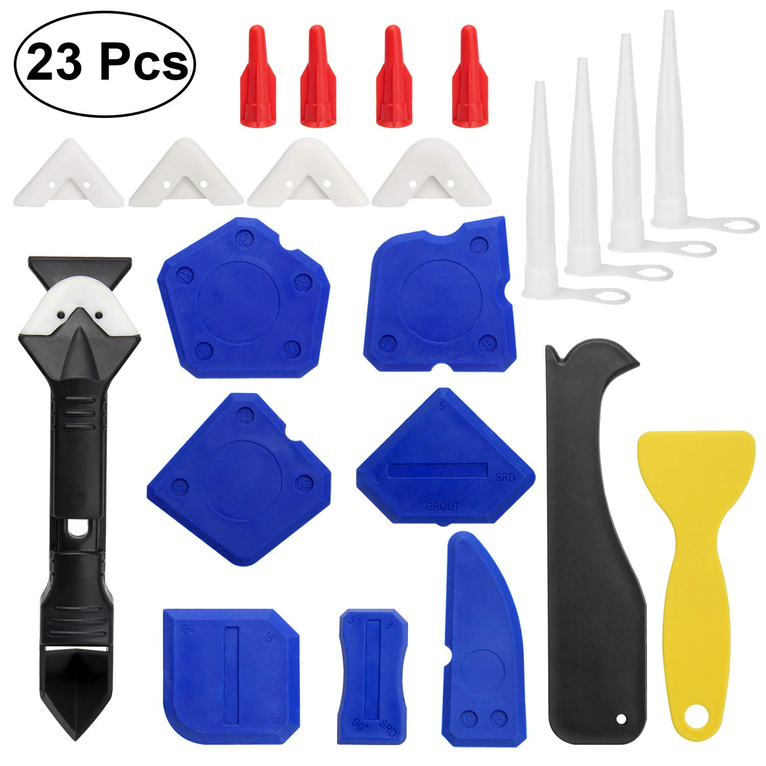23 Pieces Caulking Tool Kit, 3 in 1 Caulking Tools Silicone Sealant Finishing Tool Grout Scraper Caulk Remover and Caulk Nozzle and Caulk Caps 3 Replaceable Pads Bathroom, Kitchen, Room Sealing. by Colovis