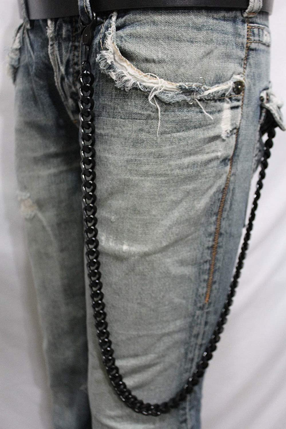 Men Black Extra Long Wallet Chains Thick Metal Links KeyChain Jeans Chunky Biker #ID-376