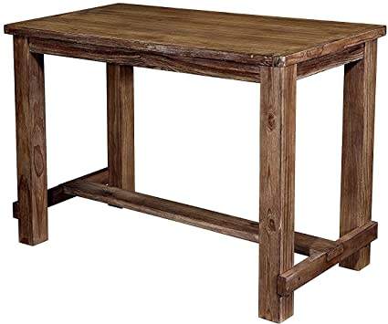 Rustic Pub Table Bistro Rectangular Free Standing Dining Room Kitchen Bar Brown Wooden Surface Top