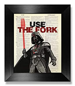 Star Wars Darth Vader Poster, Use the Fork, Kitchen Quote Wall Art Print, Food Quote Wall Decor, Dictionary Art Print, Funny Kitchen Gift for Man Woman, Unique Movie Poster, Rustic Kitchen Wall Art