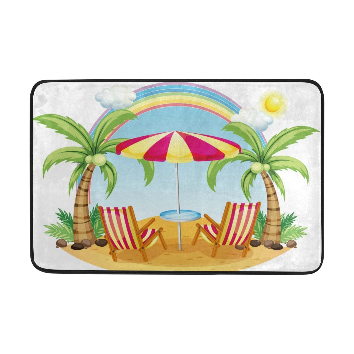 Chen Miranda Seashore Beach Umbrella Chairs Door Mat Carpets Indoor Outdoor Area Rugs Office Door Mat Non-slip for Bedroom Bathroom Living Room Kitchen Home Decorative 23.6x15.7 inch Lightweight