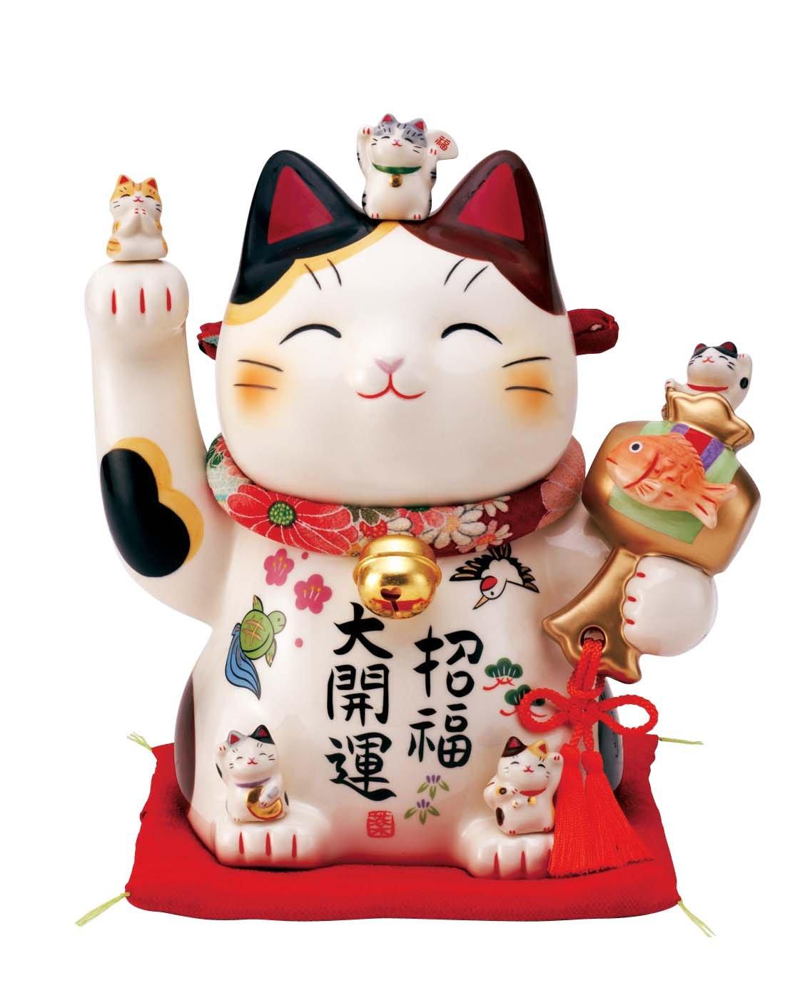 彩絵招福大開運招き猫(ちりめん首輪付7.5号) AM-Y7454 B00TX0H6WI