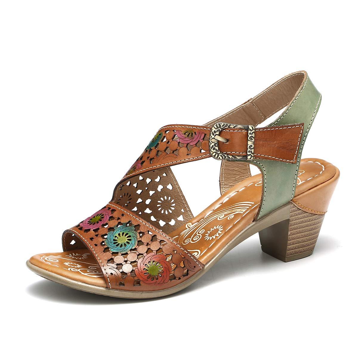 210ecf77258a3f ... Camfosy Damen Leder Vintage Sandalen mit Absatz