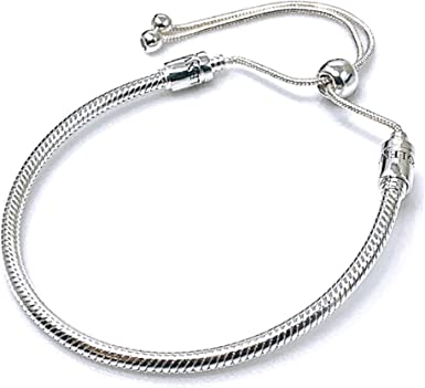Authentic Bolenvi 925 Sterling Silver Adjustable Size Clip On/Off Bracelet  compatible with Pandora Beads Charms