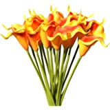 "Mandy's 20pcs Sunset Artificial Calla Lily Flowers 13.4"" for Home Kitchen & Wedding Decorations"