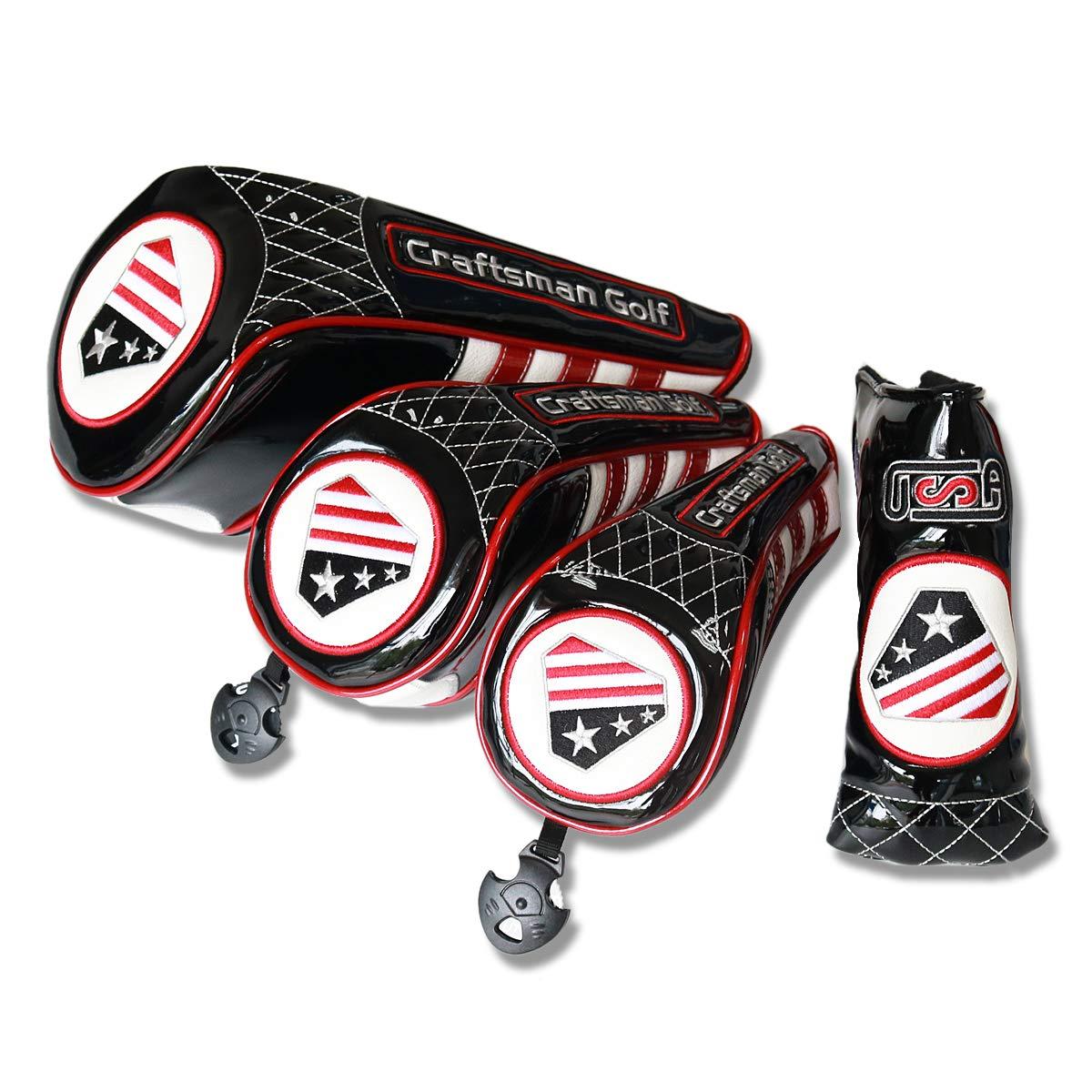 Craftsman Golfアメリカフラグブラックドライバーヘッドカバーフェアウェイウッド用ヘッドカバーハイブリッドRescure UT Covers For Taylormade Callaway Ping g25 Zipper Closure B07G5G3B59