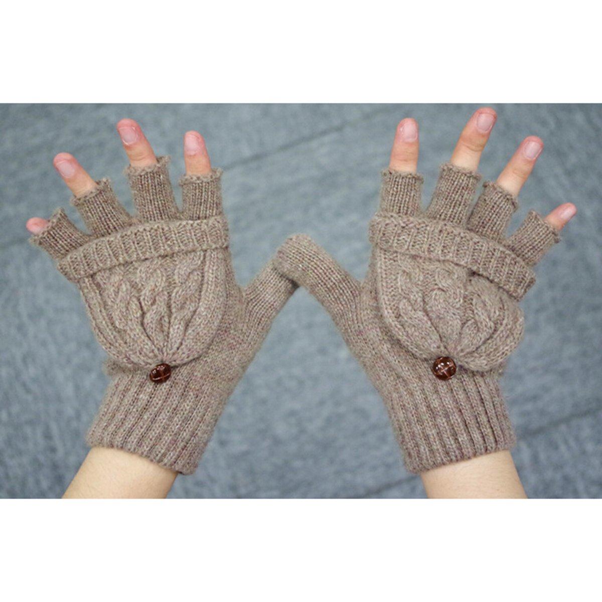 Tinkskyミトン手袋指なし手袋ウールニット手袋冬暖かいウールニット付きConvertible指なし手袋ミトンカバー(ブラウン) – クリスマスギフトレディースガールズ   B01MZXV71Z