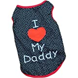 CY-buity Summer Apparel Puppy Dog dog pet clothes i love my daddy dots print vest sleeveless dog t-shirts apparel