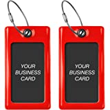 ProudGuy Luggage Tags TUFFTAAG, Business Card Holder, Suitcase Labels, Travel Accessories, Red, 2 Pack