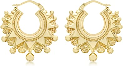 9ct Yellow Gold Baby Small Round Fancy Design Creoles Earrings Hallmarked