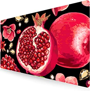 Extended Gaming Mouse Pad Large Desk Mat XXL Mouse Pad Non-Slip Rubber Base Keyboard Pad Waterproof Desktop Mat for Laptop Computer Work Game Home Office-Pomegranate Black