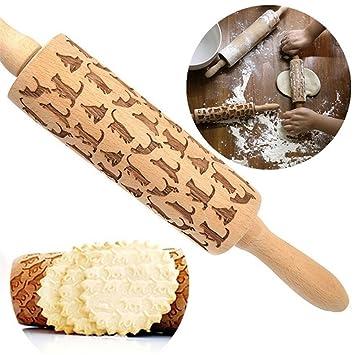 Rodillo de madera de 34 cm, diseño de gatos, rodillo de grabado con láser, rodillo de madera, regalo de inauguración de la casa: Amazon.es: Hogar