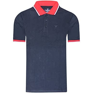 98f3fad4 American Eagle Outfitters 2k18Apr New Mens Polo T Shirt Pique Cotton  Designer Top Tee[Navy with Red Contrast,S]: Amazon.co.uk: Clothing