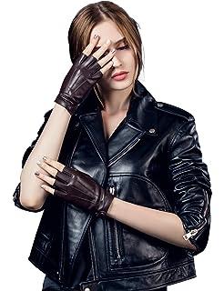 Nappaglo Fingerlos Lederhandschuhe Damen Autofahrer Sommer Motorrad Handschuhe