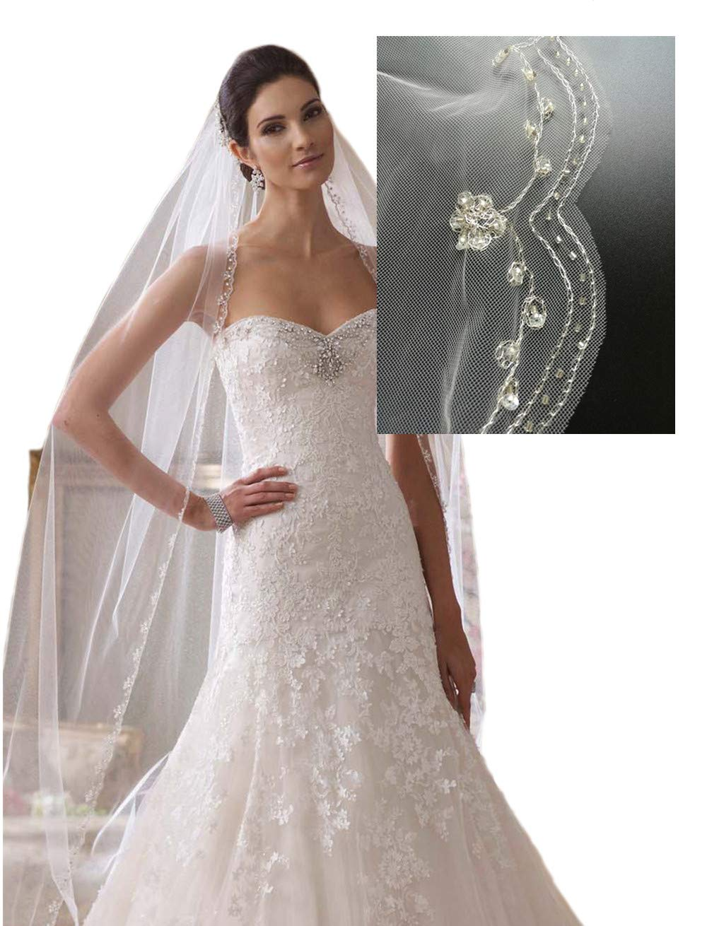 Passat Ivory 1 Tier 3M NEW! Floral Beaded Scallop Edge Cathedral Wedding Bridal Veil 224
