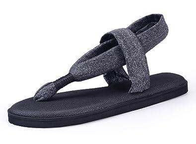 aa02b7d9322de6 Santiro Black Flat Women Sandals Shoes Yoga Mat Sole Sling Thong Sandals  Lightweight Slingback Flip-