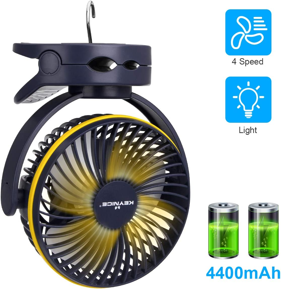 KEYNICE Clip Fan with Night Light, USB Desk Fan with Rechargeable Battery, 4 Speeds Battery Operated Fan, Outdoor Camping Hanging Fan, Hurricane Emergency, Personal Cooling Fans for Office Home