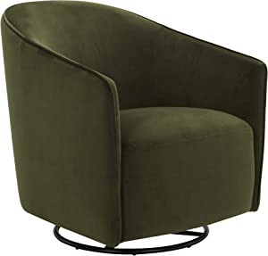 "Amazon Brand – Rivet Stowell Modern Velvet Glider Chair with Curved Back and Arms, 29.5""W, Forest Green"