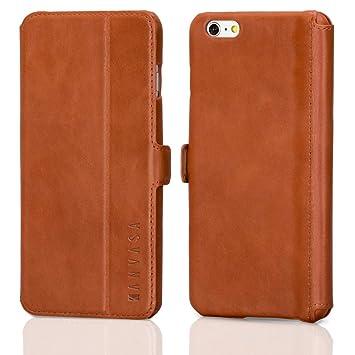 KANVASA iPhone 6/6s Plus Funda Piel Tapa Marrón - Funda Libro Slim para Apple iPhone 6 / 6s Plus (5.5 Pulgadas) - Hecha de Auténtica Piel de Cuero - ...